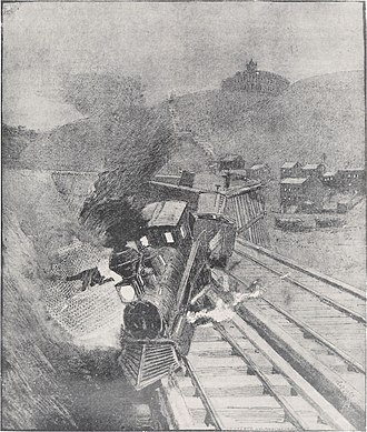 Cincinnati, Lebanon and Northern Railway - Sketch of an 1885 wreck on the longer S-shaped trestle, looking north