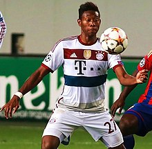 Alaba playing for Bayern Munich in 2014