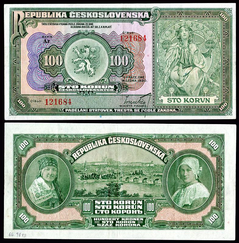 Mucha concebido obras de arte em uma República da Checoslováquia 100 Korun nota 1920.