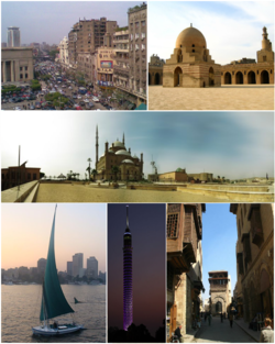 Top left: Downtown Cairo; top right: Ibn Tulun Mosque; middle: Cairo Citadel; bottom left: Nile Felucca; bottom middle: Cairo Tower; bottom right: Muizz Street