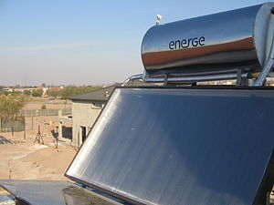 Solar thermal energy - Roof-mounted close-coupled thermosiphon solar water heater.