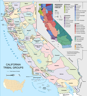 Indigenous peoples of California - A map of California tribal groups and languages at the time of European contact.