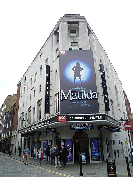 Matilda the Musical has been performed at the Cambridge Theatre in the West End since November 2011. Pictured in July 2016. Cambridge Theatre, London, 28 July 2016 03.jpg