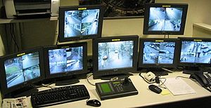 Closed-circuit television - A typical CCTV control-room set-up, Alkmaar, Netherlands in 2007.