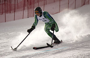 Para-alpine skiing classification - Australia's Cameron Rahles Rahbula competing in the Super G at the 2012 IPC Nor Am Cup at Copper Mountain, Colorado