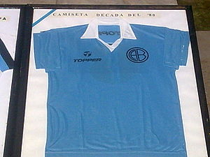 Club Atlético Belgrano - A Belgrano jersey by Topper, worn during the 1980s.