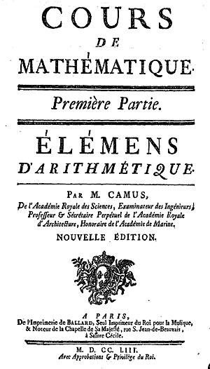 Charles Étienne Louis Camus - Camus, Cours de mathématique (1753).