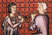 Dos chirimías tocando. Miniaturas del Códice del Escorial, hacia 1270. Cantigas de Santa María.