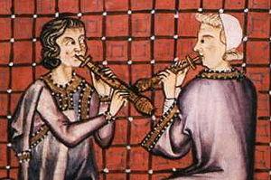 Fúvós hangszerek a Cantigas de Santa Maria kéziratból, 13. század