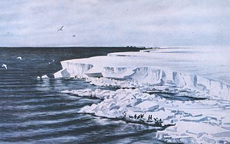 """Edward Adrian Wilson - Wilson's 1911 watercolour """"The great ice barrier – looking east from Cape Crozier"""""""