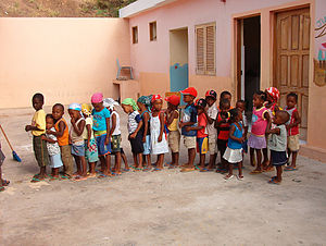 Education in Cape Verde - Primary school students lining up for class in Cape Verde