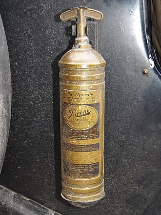 Carbon tetrachloride - A brass Pyrene carbon-tetrachloride fire extinguisher