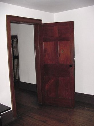 Death of Joseph Smith - The door in Carthage Jail through which the mob fired. There is a bullet hole in the door.