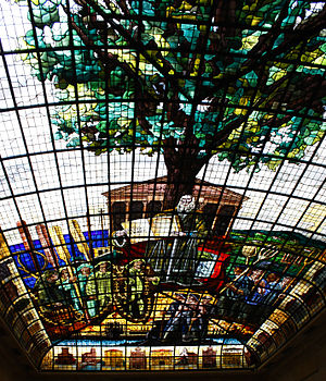 End of Basque home rule in Spain - Stained glass ceiling inside Gernika'a Assembly House (erected 1828), depicting the Tree of Gernika