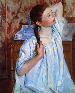 CASSATT Mary Girl arranging her hair 1886