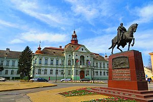 Zrenjanin - City Hall and monument to King Peter I of Serbia