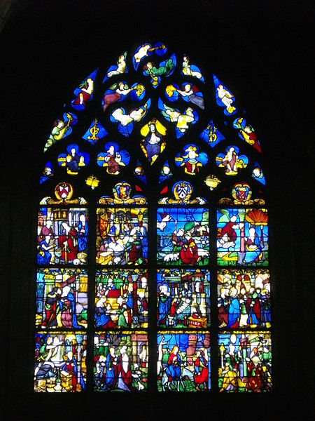 Stained glass window of Notre-Dame-en-Vaux collegiate church in Châlons-en-Champagne (Marne, France)