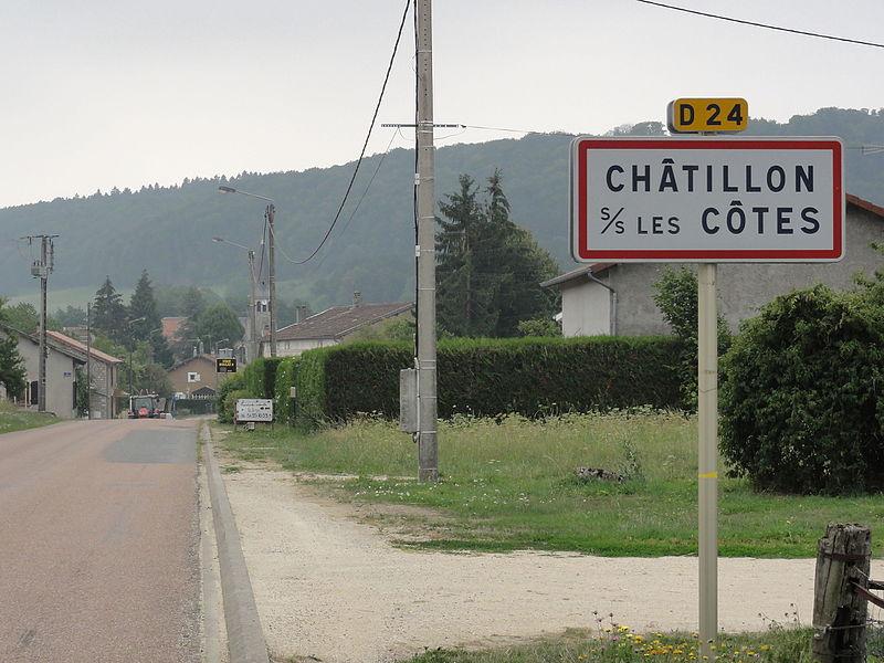 Châtillon-sous-les-Côtes (Meuse) city limit sign