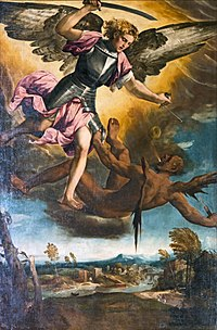 Chapel of our Lady of the Rosary of Santi Giovanni e Paolo (Venice) - St Michael Vanquishing the Devil.jpg