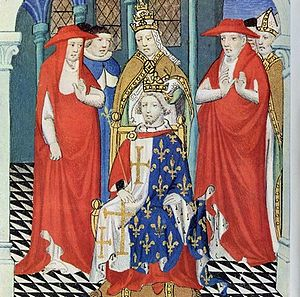 Capetian House of Anjou - The seated Charles I of Sicily is crowned by Pope Clement IV.
