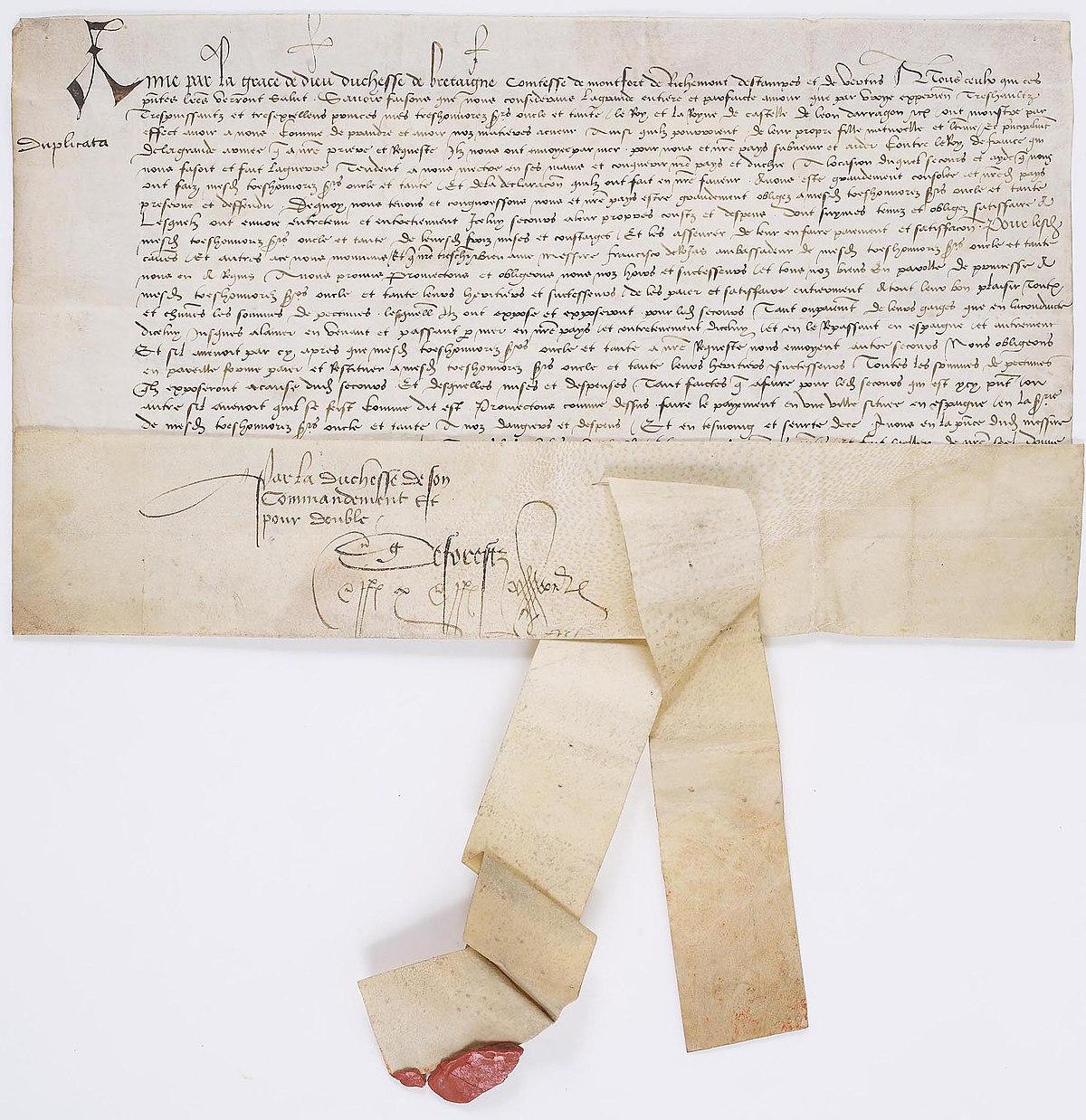 File Charte De Anne Duchesse De Bretagne 1 Archives Nationales