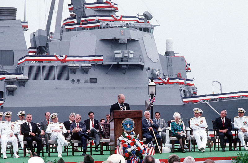 Cheney delivering speech before an AEGIS ship is commissioned.JPEG