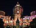 Chhatrapati shivaji terminus, esterno di notte 06.jpg