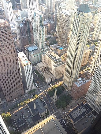 Chicago Water Tower - The tower in comparison to other high rises in the area, September 2013
