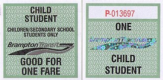 Brampton Transit - 2008 Children/Student 10 ticket
