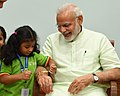 Children tying 'Rakhi' on the Prime Minister, Shri Narendra Modi's wrist, on the occasion of 'Raksha Bandhan', in New Delhi on August 26, 2018 (5).JPG