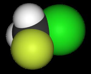 Chlorofluoromethane - Image: Chlorofluoromethane 3D vd W