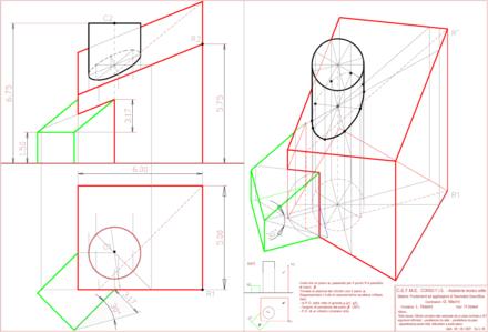 Geometria descrittiva , Cilindro circolare retto sezionato da un piano inclinato, in assonometria cavaliera militare e nel metodo di Monge