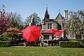City of London Cemetery and Crematorium ~ Café patio garden red umbrellas 02.jpg