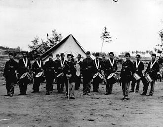 Fife and drum corps - A drum and fife corps from the American Civil War.