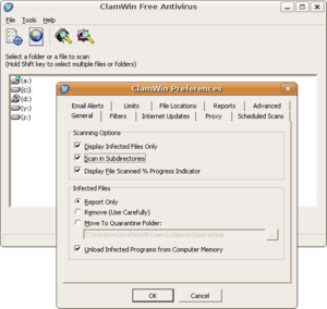 Wine (software) - ClamWin GUI