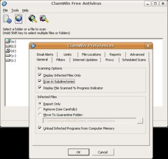 Wine (software) - ClamWin GUI