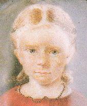 Clara Wieck 1828, im Jahr ihres ersten großen Auftritts als Pianistin, Elfenbeinminiatur (Ausschnitt) (Quelle: Wikimedia)