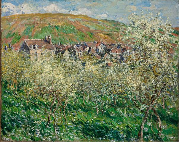 """""""Les pruniers en fleurs"""" : Peinture de Monet"""