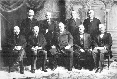Cleveland's last cabinet. Front row, left to right: Daniel S. Lamont, Richard Olney, Cleveland, John G. Carlisle, Judson Harmon Back row, left to right: David R. Francis, William L. Wilson, Hilary A. Herbert, Julius S. Morton