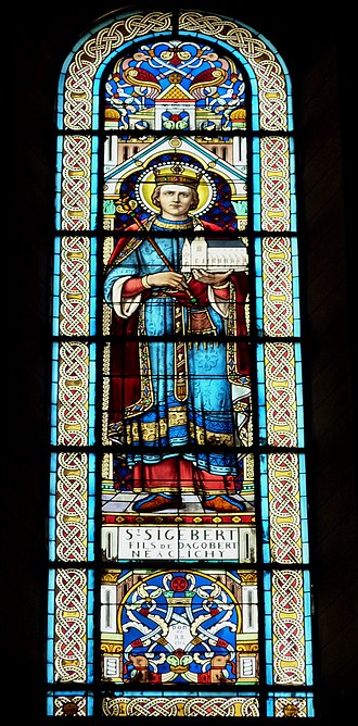 Sigebert III - Sigebert depicted on stained glass window