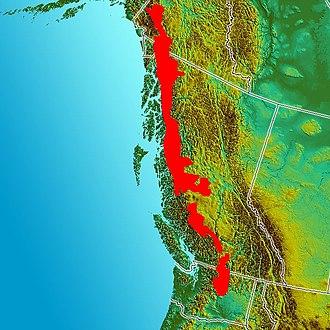 Coast Range Arc - Image of the Pacific Northwest. Red indicates the inferred boundaries of the Coast Range Arc.