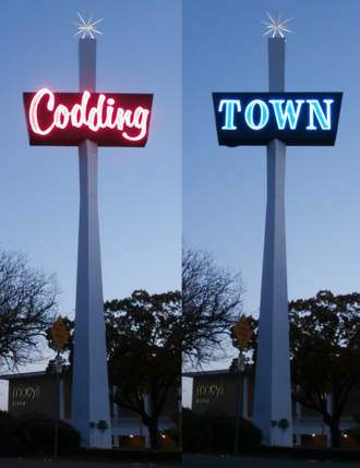Coddingtown Mall - The rotating sign at the east end of Coddingtown Mall facing US Route 101
