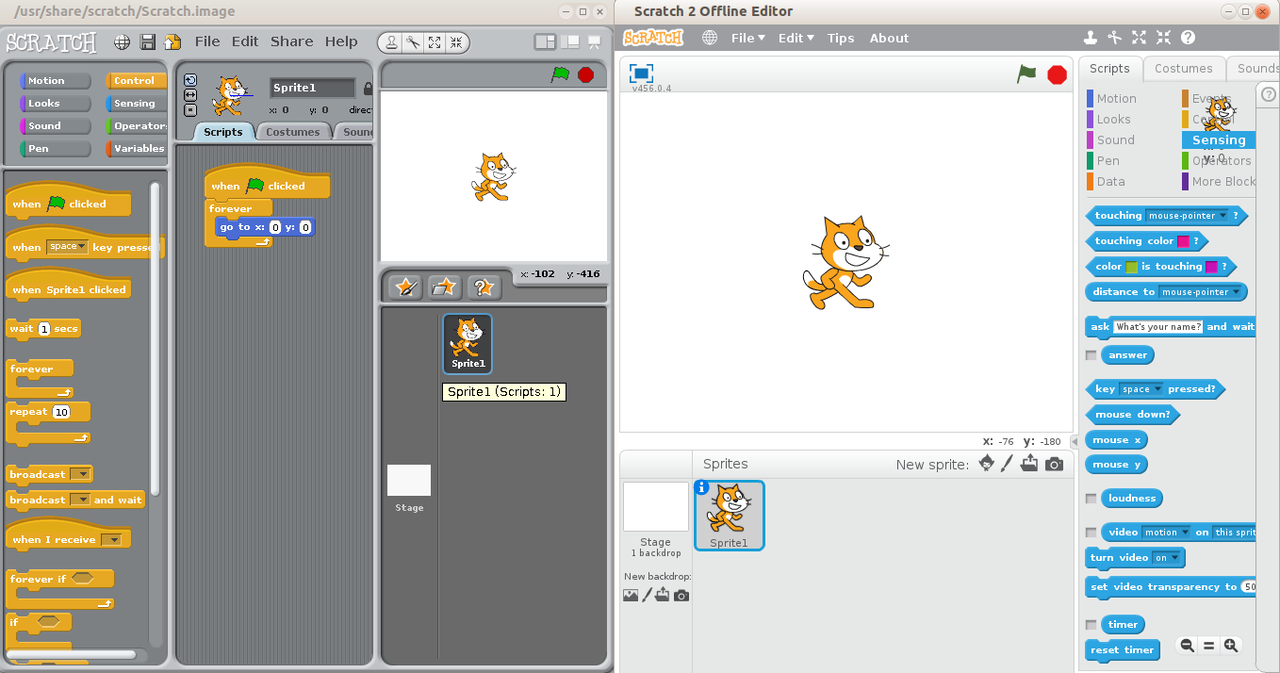 scratch coding user interface