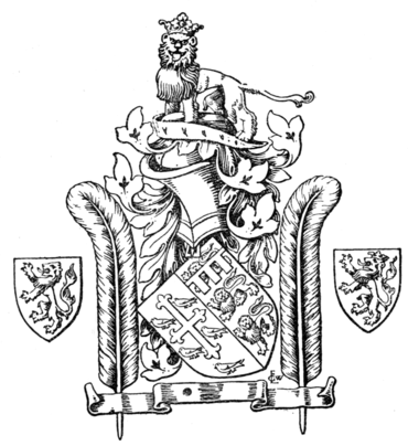 Fig. 675.—The arms granted by King Richard II. to Thomas de Mowbray, Duke of Norfolk, and showing the ostrich feather badges.
