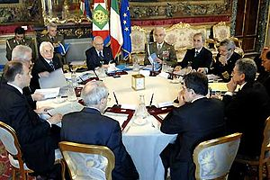 High Council of Defence (Italy) - President Giorgio Napolitano chairs the High Council of Defence, 2 April 2007.