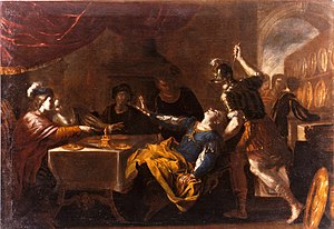 Absalom - The Banquet of Absalom attributed to Niccolò de Simone around 1650