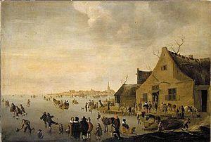 Cornelis Beelt - Winter landscape with ice skaters