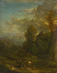 Evening Landscape with Travellers