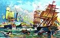 Cornelis Matelief verslaat de Spaans Portugese vloot voor Malakka, 22 oktober 1606.jpg