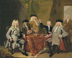 Caspar Commelijn - Inspectors of the Collegium Medicum - 1724 by Cornelis Troost (left to right) Hendrik van Bronkhorst, Jeronimo de Bosch, Daniël van Buren, Martinus Haesbaert, Caspar Commelijn and Joost ter Pelkwijk